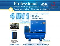 SCREW AIR COMPRESSOR COMPRESSED AIR TREATMENT SYSTEM 4 IN 1